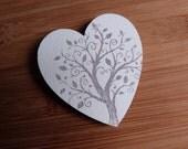 Large White Tree Heart Fridge Magnet