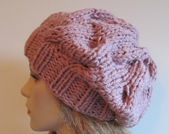 Slouchy Braided Cable Beanie Chunky Slouch Hats Oversized Baggy Beret womens spring fall winter accessory Super Chunky Hand Made Knit