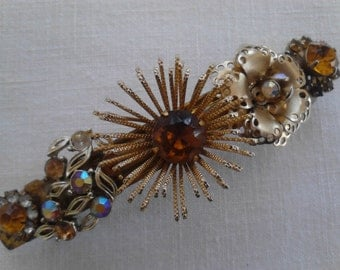 Handmade Rhinestone Barrette, Repurposed Earrings,ECS