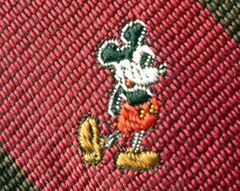 """Vintage J.G. Hook for DISNEY """"Mickey Mouse"""" Brown & Red Repp Stripe Trad / Ivy League Emblematic Club Neck Tie.  Made in USA."""