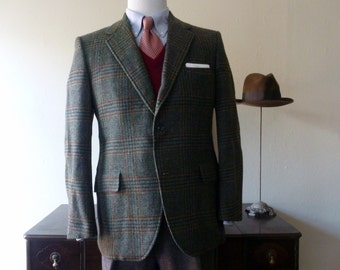 Vintage 1962-1976 Hart, Schaffner, & Marx Gun Check Plaid Tweed Sack Jacket Size 42 R. Made in USA.