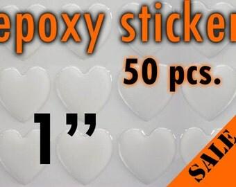 """50pcs. 1"""" - (25.4mm) Heart Epoxy Sticker"""