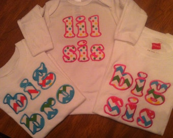 Custom Big/Little Sister Big/Little Brother shirts or gowns