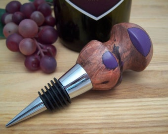 Wine Stopper Walnut Wood Burl with Purple Acrylic and Chrome, Wine Accessory, Bottle Stop
