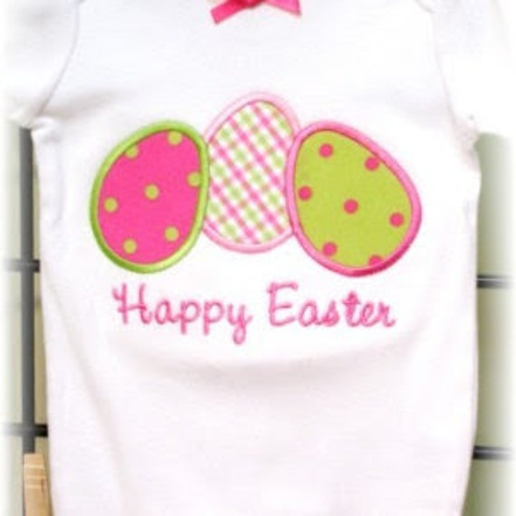 Happy Easter Eggs- machine applique design for bodysuit or tee