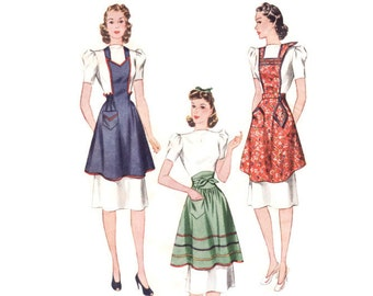 Vintage 1940 Sewing Pattern - Half or Full Apron with Shaped Neckline, Shirred Waistline - Simplicity 3510, Size Small Bust 32-34