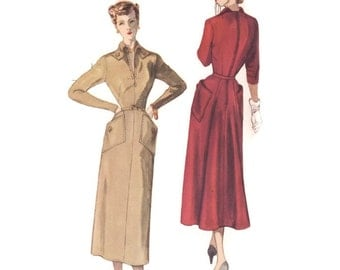 1940s Dress Pattern Simplicity Designer's 8178, V-Neck, Unusual Collar, Back Flare Skirt, 1949 Vintage Sewing Pattern Bust 32 Uncut