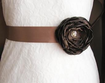 Brown wedding sash Bridal Belt with flower Floral wedding accessory Bridesmaid sash