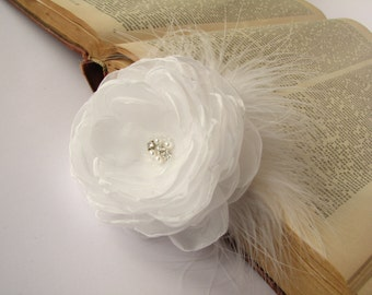 Bridal hair clip white organza flower Wedding hair piece Head piece Wedding fascinator with feathers
