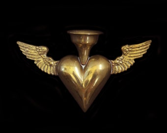 Moonscuriousitems-SOLD-Rare Antique Heart Ex Voto Oil Lamp -  Brass-  Sacred Heart With Wings-1800's Austria