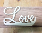 Wood Love Script Sign, Stand up Sign