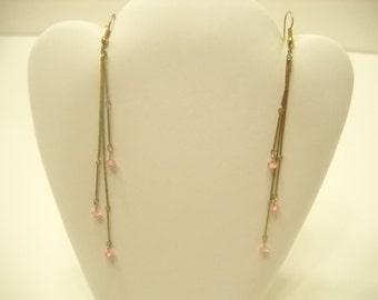 """Vintage 4"""" Gold Dangle Pierced Earrings (1954)"""