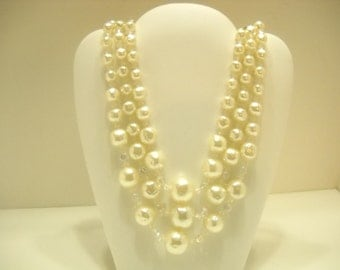 Triple Strand Faux Pearls & Crystals Necklace (5214) Extra Small