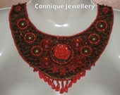 Red And Brown Bead Embroidered Necklace