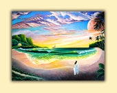 Romantic couple on the beach print at sunset hawaii, surf, waves, sand, palm trees, sailboat, and clouds