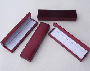 4 x red real wood veneer bracelet watch case gift presentation box - Matt satin wooden finish with white padded interior