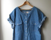 Oversize Short Sleeve Denim Blouse