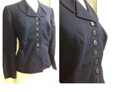 "Late 1940s Navy Suit Jacket / 31"" Waist"