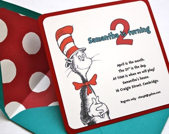 Dr. Seuss Birthday Party Invitation - Square Envelope and Invitation, Envelope Liner, Multi-Layered Invitation