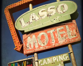 Retro Motel Sign, Lasso Motel, Route 66, Travel Photograph, Blue, Sage Green, Red, Typography decor
