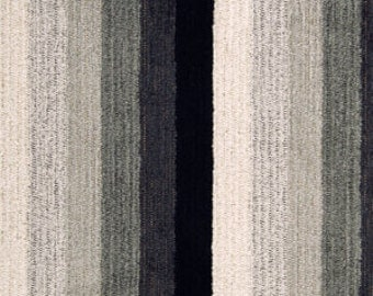 Black White Stripe Chenille Upholstery Fabric by the Yard - Charcoal Grey Plush Material for Pillows and Headboards - Black White Home Decor