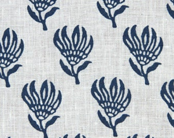 Teal Navy Blue Floral Fabric Modern Teal Linen Upholstery