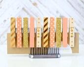 SALE! Mini Clothespins, Washi Clothespins, Peach Gold Kraft, Peach Clothespins, Home Decor, Love, Set of 10