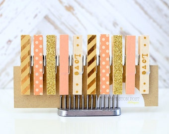 Washi Tape Clothespins Set of 10 Mini Clothespins Peach Gold