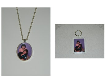 Laverne and Shirley Keychain or Glass pendant Necklace