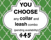 You Choose Dog Collar / Leash SET