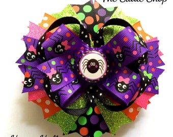 Halloween Bow - Personalized Spider Boutique Bow - Spider Bow