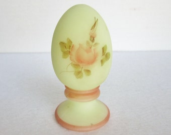 Vintage Fenton Art Glass Hand Painted Egg, Signed by Artist