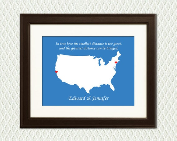 LONG DISTANCE RELATIONSHIP - Personalized Gift map of any continent, country, state or city. For him, a boyfriend, husband