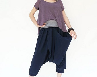 NO.142   Navy Blue Rayon Pleated Front Drop Crotch Shorts, Mega Pocket Capri Pants