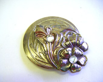 Deco Style Silver Floral Brooch or Pin With Rhinestones