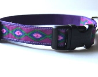 Purple Native Dog Collar Adjustable Sizes (XS, S, M, L, XL)