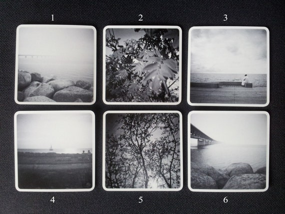 Black and white coasters with photographs of nature, 6 different styles