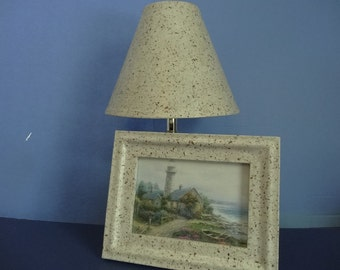 Off-White Lampshade & Frame - Decoupage using Handmade Cream Paper with Brown Specs