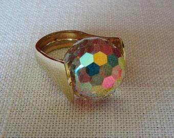 Aurora Borealis Ring Large Goldtone Disco Ball Costume Jewelry