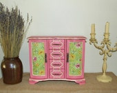 Large,Upcycled Vintage Distressed and Shabby Wood Jewelry Box/Armoire,Hand Painted in a Vibrant Pink and Cream Chalk Paint