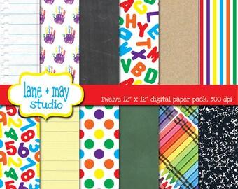 digital scrapbook papers - back to school / graduation / preschool / primary school theme patterns - INSTANT DOWNLOAD