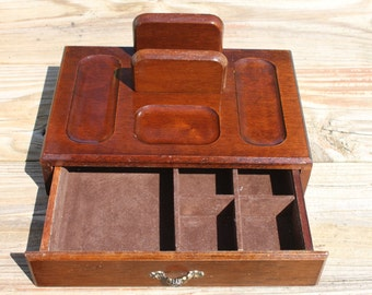 Solid wood dresser valet/caddy with drawer mens or womens