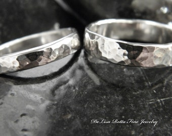 Recycled Silver, Eco Friendly, Hammered, Wedding Band Set