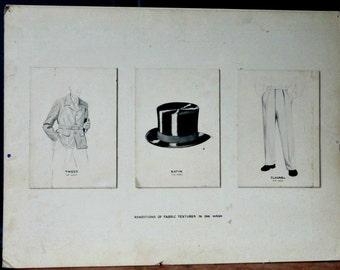 Vintage Advertising, Original Ink Wash Drawings, Menswear, Poster, Art, Wall Decor, Black & White