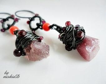 Ruby, Ruby Dangle Earrings, Rough Pink Ruby Earrings, Wire Wrapped Earrings, Wrapped Gemstone Earrings