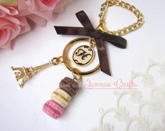 Neapolitan french macaron bag charm, milk and dark chocolate monogram keychain,Tour eiffel, bag chain, lobster clasp, key ring, ribbon.