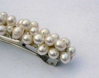Pearl Bridal Barette Freshwater Ivory Pearl Classic Elegant Ivory Black