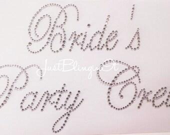 Bride's Party Crew Wedding Bridal Rhinestone Iron On Transfer Bling  Hot Fix DIY