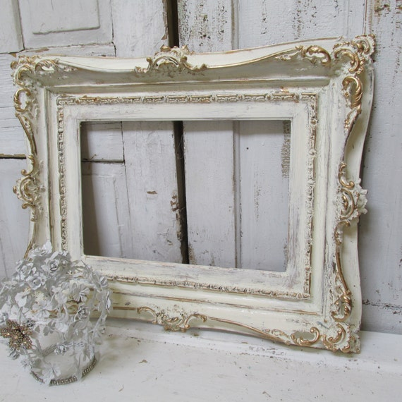 Large Ivory Ornate Frame Hand Painted Wood Distressed Shabby