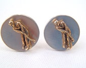 Vintage Golf Player Putting on the Green Goldtone and Silvertone Cufflinks by Swank